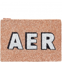 Rose Gold Block Initials Glitter Clutch Bag