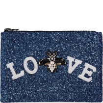 Love Embellished Glitter Clutch Bag Midnight