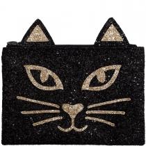 Black & Gold Cat Glitter Clutch Bag