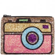 Vintage Camera Glitter Clutch Bag