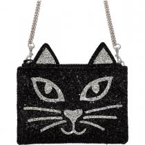 Black & Silver Kitty Glitter Cross-Body Bag