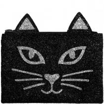 Black & Silver Cat Glitter Clutch Bag