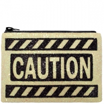 Caution Glitter Clutch Bag