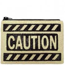Caution Glitter Clutch Bag