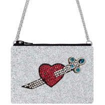 Heart & Dagger Glitter Cross-Body Bag