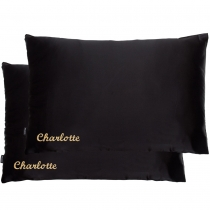 Double Silk Personalised Pillowcases Black