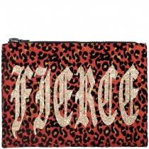 Fierce Red Leopard Clutch Bag
