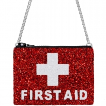 First Aid Red Glitter Cross-Body Bag