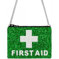 First Aid Green Glitter Cross-Body Bag