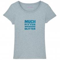 Much Fitter Wearing Glitter T-Shirt Blue