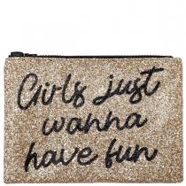 Girls Just Wanna Have Fun Glitter Clutch Bag