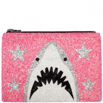 Baby Pink Shark Glitter Clutch Bag