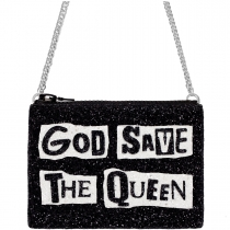 God Save The Queen Black Glitter Cross-Body Bag