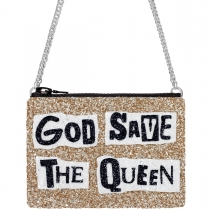 God Save The Queen Pale Gold Glitter Cross-Body Bag