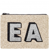 Pale Gold Block Initials Glitter Clutch Bag