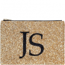 Gold Monogram Glitter Clutch Bag