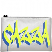 Personalised Metallic Silver & Neon Graffiti Clutch Bag