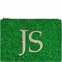 Green Monogram Glitter Clutch Bag