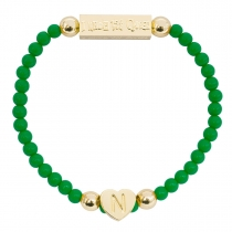 Gold Plated Letter Bracelet Green - Choose Letter