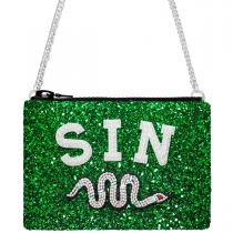 Sin Glitter Cross-Body Bag Green