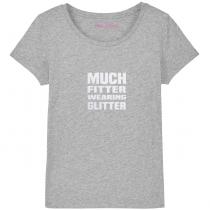 Much Fitter Wearing Glitter T-Shirt Grey