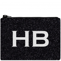 HB London x I Know The Queen Monogram Glitter Clutch Bag Black & White
