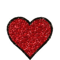 Heart Glitter Sticker Red