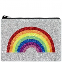 Silver Rainbow Glitter Clutch Bag