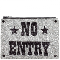 No Entry Glitter Clutch Bag