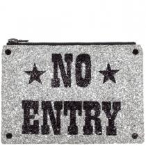 No Entry Glitter Clutch Bag