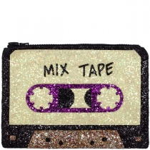 Mix Tape Glitter Clutch Bag