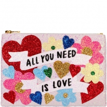 All You Need Is Love Glitter Clutch Bag