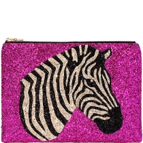 Zebra Glitter Clutch Bag