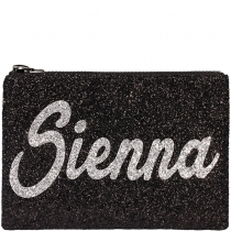 Personalised Black Glitter Clutch Bag