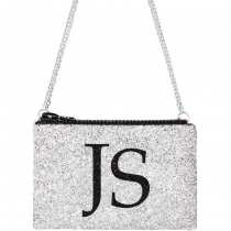 Silver Monogram Glitter Cross-body Bag