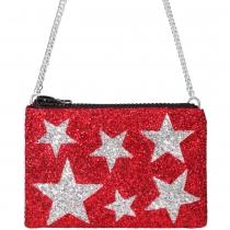 Red Stars Glitter Cross-Body Bag