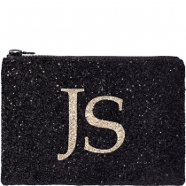 Black & Pale Gold Monogram Glitter Clutch Bag