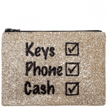 Keys Phone Cash Glitter Clutch Bag