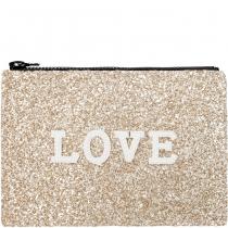 Love Glitter Clutch Bag Pale Gold