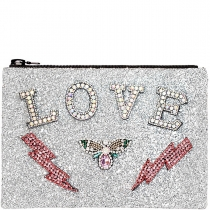 Love Embellished Glitter Clutch Bag Silver