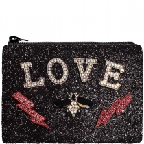 Love Embellished Glitter Clutch Bag Black