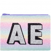 Mermaid Block Initials Glitter Clutch Bag