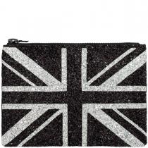 Monochrome Union Jack Glitter Clutch Bag