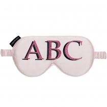 Silk Monogram Eye Mask Pink