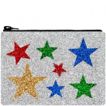 Multi Stars Silver Glitter Clutch Bag