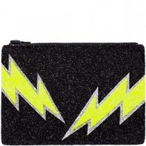 Black Bolt Glitter Clutch Bag