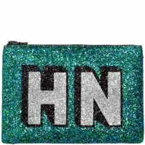 Peacock Block Initials Glitter Clutch Bag