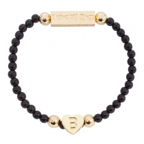Gold Plated Letter Bracelet Black - Choose Letter