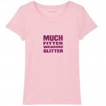 Much Fitter Wearing Glitter T-Shirt Pink