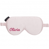 Silk Embroidered Eye Mask Pink